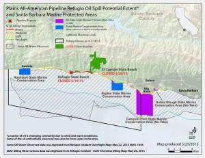 Map showing areas of Gaviota coast affected by oil spill