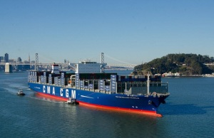 The largest cargo ship to ever visit the U.S. The CMA CGM Benjamin Franklin, generated 11 hours of low-frequency sound when it cruised along the Central Coast. Photo courtesy Port of Oakland.