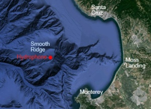 MBARI's deep-sea hydrophone is located on Smooth Ridge in the Monterey Canyon, about 30 kilometers (18 miles) from shore. Base image: Google Earth