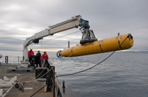 The MBARI team launches an autonomous underwater vehicle (AUV) from the R/V Rachel Carson.