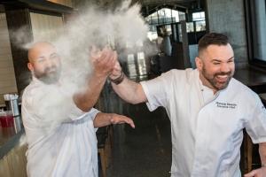 Chef Matt and Adam Young flour shot