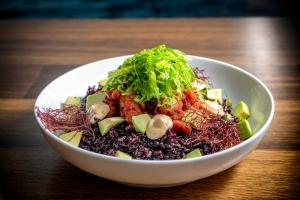 Plant based tuna poke bowl - The Restaurant - Monterey Bay Aquarium